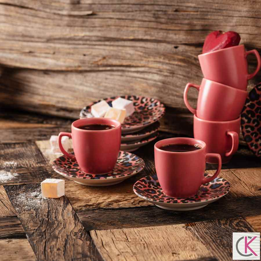 Apricot Leopar Pembe 6 Kişilik Kahve Fincan Takımı