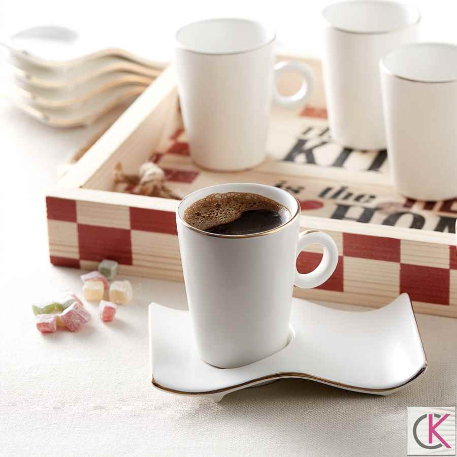 Karaca Volna Beyaz 6 Kişilik Kahve Fincan Takımı