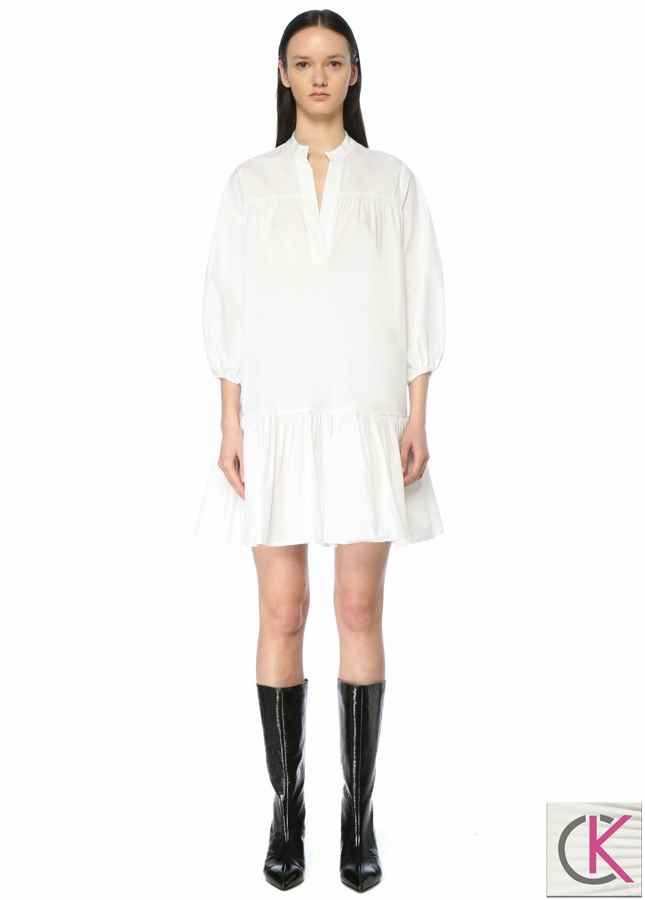 Beyaz V Yaka Balon Kol Mini Elbise