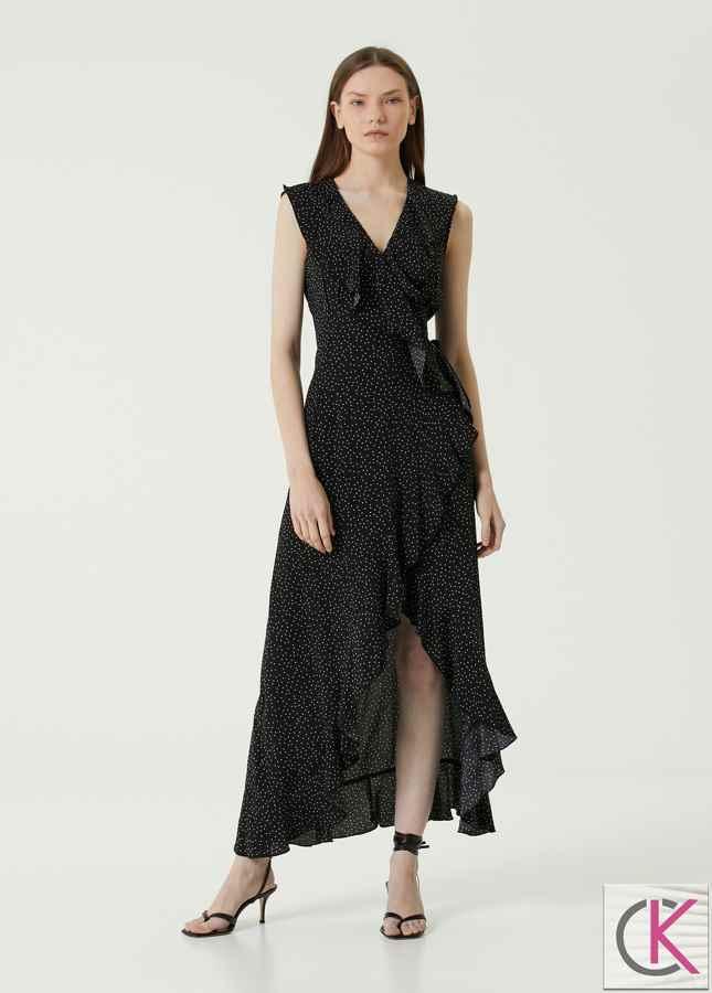 Siyah V Yaka Puantiyeli Maksi Elbise