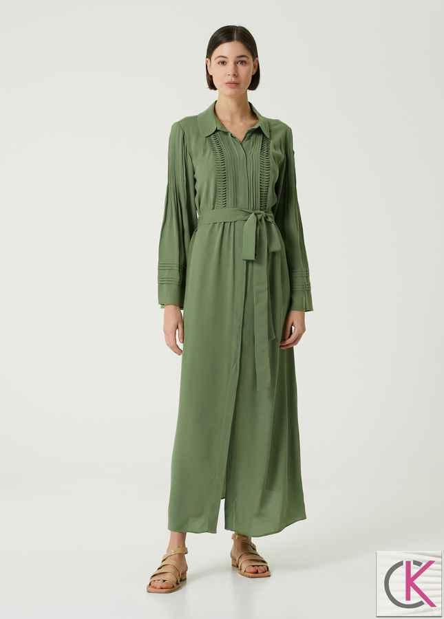 Yeşil Pili Detaylı Maksi Gömlek Elbise