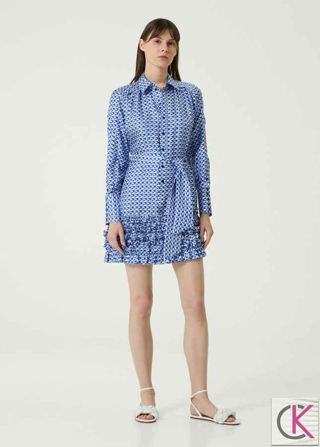 Mavi Desenli Fırfırlı Mini İpek Gömlek Elbise