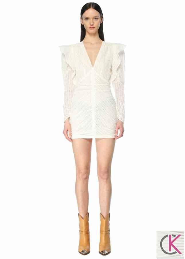 Beyaz V Yaka Volanlı Mini Elbise