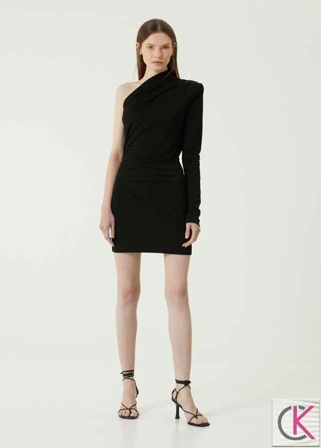 Vesoul Siyah Asimetrik Mini Kokteyl Elbise