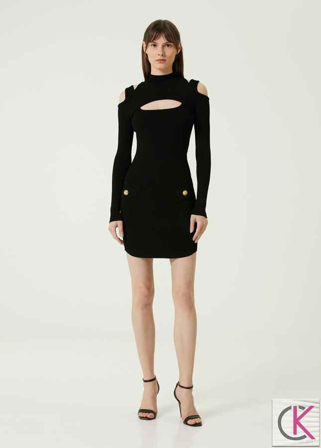 Siyah Kesim Detaylı Mini Triko Elbise