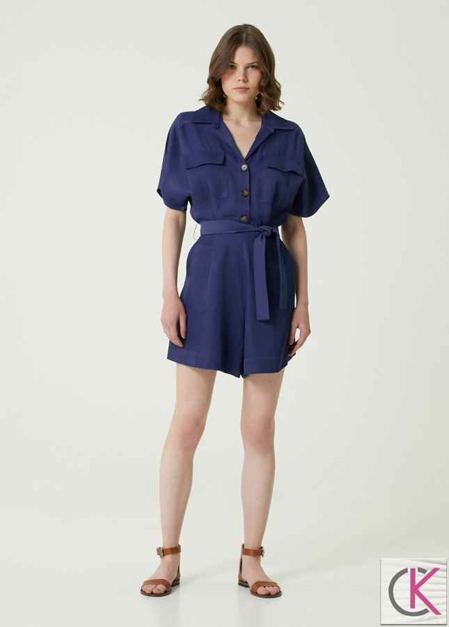 Slim Fit Mavi Beli Kuşaklı Mini Tulum